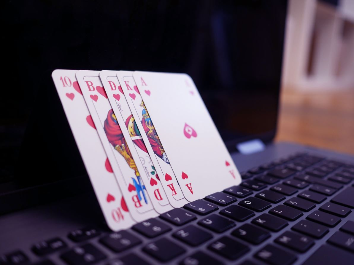 playing cards on a laptop